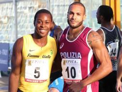 Da sinistra Fausto Desalu, 24 anni, con Marcell Jacobs, 23. Coombo