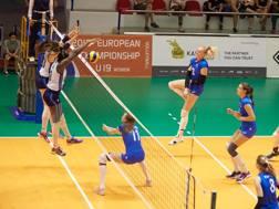 Una fase della finale dell'Europeo Under 19 Italia-Russia Cev.lu