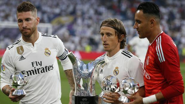 Sergio Ramos, Luka Modric and Keylor Navas. Ap