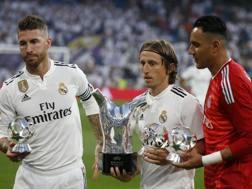Sergio Ramos, Luka Modric e Keylor Navas. Ap