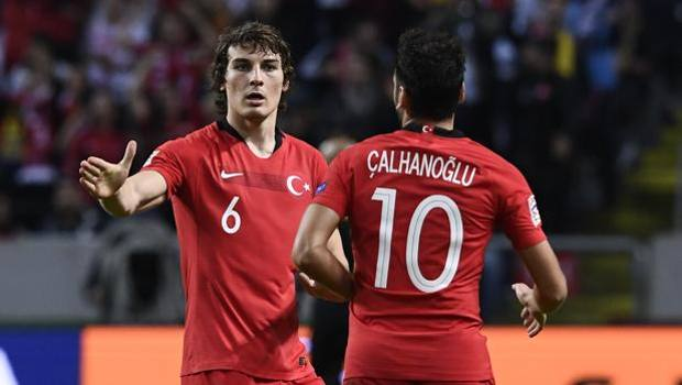 Hakan Calhanoglu, 24, author of a goal in today's challenge with Sweden.  Afp