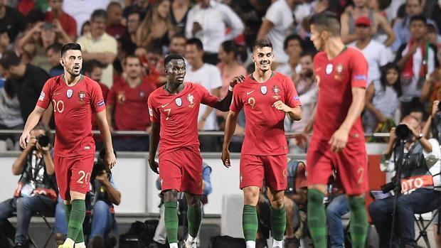 L'esultanza per il gol di André Silva. Lapresse