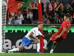 Il gol di André Silva. Lapresse