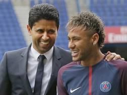 Il presidente del Psg con Neymar