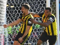 Il Watford festeggia contro il Tottenham. Getty