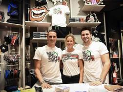 Fabio Scozzoli, Federica Pellegrini e Marco Orsi oggi a Milano