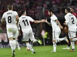 L'esultanza del Real Madrid per il gol del pareggio. AP