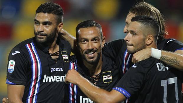 Defrel, Quagliarella, Barreto e Caprari festeggiano la vittoria. Getty