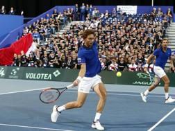 Il doppio francese: Nicolas Mahut (in primo piano) e Julien Benneteau, entrambi 36 anni AP