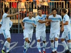 La Lazio festeggia il gol di Parolo. Getty