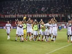 I giocatori del Palermo festeggiano la vittoria. Lapresse