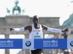 Eliud Kipchoge, 33 anni, keniano, 1,67 per 56 kg,al traguardo della maratona di Berlino Getty