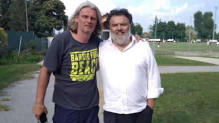 Skuhravy con Lamanna, proprietario del Cuneo, in una foto tratta dal sito ufficiale del club