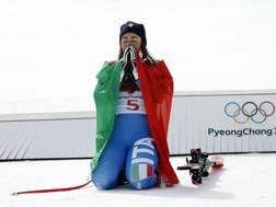 Sofia Goggia dopo l'oro di PyeongChang AP