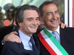 Il presidente della Regione Lombardia Attilio Fontana (S) con il sindaco di Milano Giuseppe Sala . Ansa