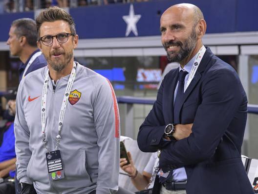 Il d.s. giallorosso,Monchi insieme al tecnico Di Franscesco.Lapresse