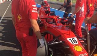 Leclerc sulla Ferrari SF71H ai test Pirelli al Paul Ricard