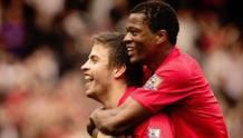Patrice Evra e Gerard Piqué ai tempi del Manchester United. Getty