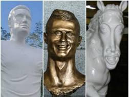 Statue per Falcao, Cristiano Ronaldo e Ronaldinho