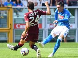 Un'azione del match tra Torino e Napoli. Lapresse