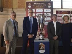 La presentazione della Supercoppa: Roccaforte, Bianchi, Del Bono, Bragalio. Lapresse