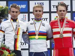 IIl podio degli U23 nel Mondiale 2017. Bettini