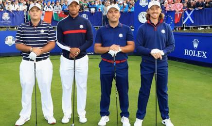 Da sinistra: Patrick Reed, Tiger Woods (Stati Uniti), Francesco Molinari, Tommy Fleetwood (Europa) GETTY