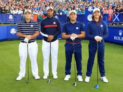 Da sinistra: Patrick Reed, Tiger Woods (Stati Uniti), Francesco Molinari, Tommy Fleetwood (Europa) GETTY