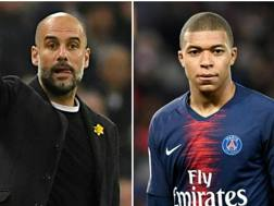 Pep Guardiola e Kylian Mbappé. Getty