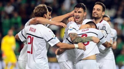 L'esultanza dei giocatori del Milan. Ansa