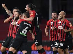 Il Foggia festeggia il gol di Kragl su calcio di punizione. Lapresse