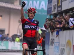 Alessandro De Marchi, friulano di Buja, 32 anni, in trionfo sul San Luca a Bologna. Bettini