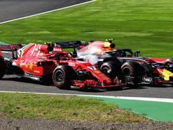 Il contatto tra Kimi Raikkonen e Max Verstappen. Getty Images