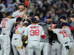 La festa dei Red Sox. Afp