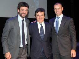 Andrea Agnelli, Urbano Cairo e Aleksander Ceferin a Trento. Foto Bozzani