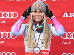 Lindsey Vonn, 33 anni, con l'argento mondiale della discesa vinto a marzo. Afp