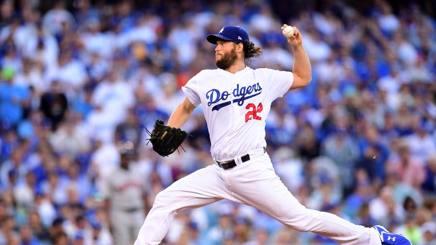 Clayton Kershaw, lanciatore partente di gara.1 dei Los Angeles Dodgers. Afp