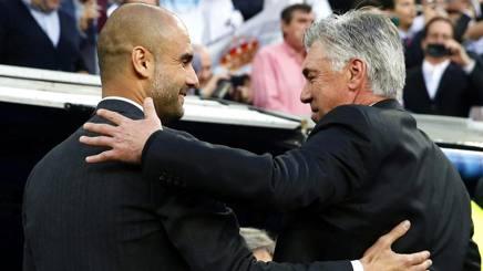 Pep Guardiola e Carlo Ancelotti. Epa