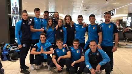 L'Italia U21 alla partenza da Fiumicino