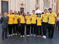 Gli atleti delle Fiamme Gialle a Piazza Navona