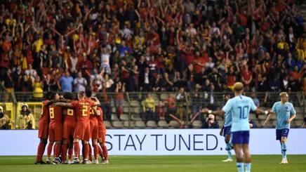 Il Belgio festeggia il vantaggio momentaneo firmato da Dries Mertens, 31 anni