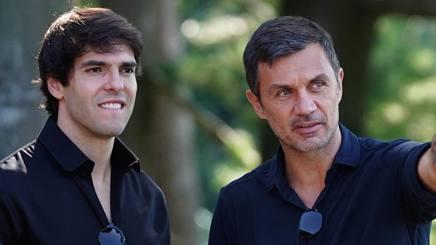 Ricardo Kakà, ex attaccante del Milan e Paolo Maldini, direttore sviluppo strategico area sport del Milan. LaPresse