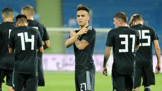 Lautaro Martinez dopo il gol all'Iraq. Epa