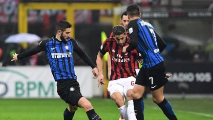Una fase di gioco dell'ultimo derby milanese.Afp