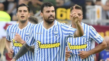 Petagna esulta dopo il gol del vantaggio nel primo tempo. Afp