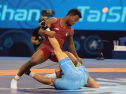 Frank Chamizo in azione durante i quarti di finale contro il kazako Sakayev