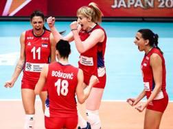 L'esultanza della Serbia per la vittoria Mondiale. Fivb.com