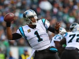 Un lancio di Cam Newton, 29 anni, QB dei Carolina Panthers AFP
