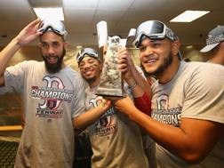 Boston festeggia la vittoria dell'American League. Afp