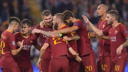 La Roma festeggia il successo. Lapresse